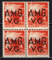 ITALIA VENEZIA GIULIA - AMGVG - 1945 - DEMOCRATICA 4 LIRE IN QUARTINA - MNH - Mint/hinged