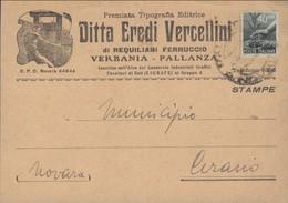 1945 DEMOCRATICA C.40 (546) Isolato Su Stampe Pallanza (9.11) - Verbania