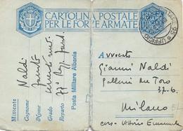 1939 UFFICIO POSTALE MILITARE/N. 95 (19.6) Su Cartolina Franchigia Albania Piega Centrale - Marcophilia