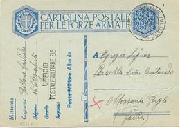 1939 Cartolina Franchigia ALBANIA Ufficio Postale Militare/n. 95 (12.8) - Marcophilia