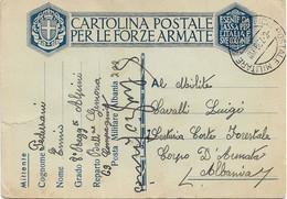 1939 8 RGT. ALPINI BTG. GEMONA Manoscritto Su Cartolina Franchigia Tipo Albania Ufficio Posta Militare N. 202 C.2 (6.7) - Marcophilia