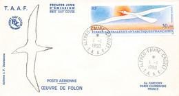 FDC T.A.A.F. #26171 ALFRD FAURE CROZET 1990 PREMIER JOUR POSTE AERIENNE OEUVRE DE FOLON - FDC
