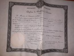 Diplome De Baccalauréat ès Sciences ( Academie De Bordeaux )1893 - Rosette Papier Du MINISTERE De L'instruction Publique - Diploma & School Reports