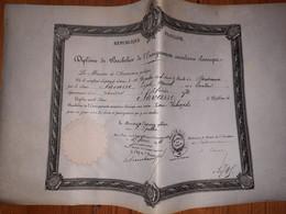 Diplome De Bachelier Enseignement Secondaire( Acde Bordeaux )1894 - Rosette Papier  MINISTERE De L'instruction Publique - Diploma & School Reports