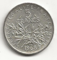 5 Francs - Semeuse - 1968 - TB/TTB - J. 5 Francs