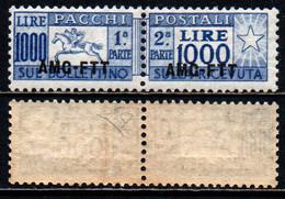 TRIESTE A - AMGFTT - 1954 - CAVALLINO CERTIFICATO DIENA - PACCHI POSTALI - SOVRASTAMPA SU UNA LINEA -  1000 LIRE - MNH - Postal And Consigned Parcels