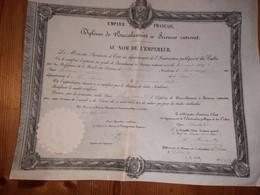 Diplome De Baccalauréat ès Sciences Au Nom De L'Empereur - 1863 -( Ministere De L'instruction Publique  Et Des Cultes ) - Diploma & School Reports