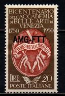 TRIESTE A - AMGFTT - 1950 - BICENTENARIO DELL'ACCADEMIA DI BELLE ARTI DI VENEZIA - MNH - Mint/hinged