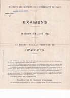 FACULTE Des SCIENCES  PARIS - CONVOCATION 1962 - Diploma & School Reports