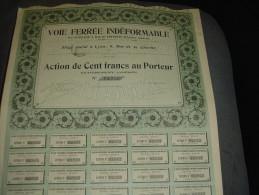 """Action""""Voie Ferrée Indéformable""""Lyon 1905 Excellent état,avec Tous Les Coupons. - Railway & Tramway"""