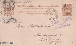 INDES NEERLANDAISES  1892 ENTIER POSTAL/GANZSACHE/POSTAL STATIONARY  CARTE DE BANDA - Nederlands-Indië