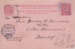 INDES NEERLANDAISES  1896  ENTIER POSTAL/GANZSACHE/POSTAL STATIONARY  CARTE - Nederlands-Indië
