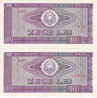 PAREJA CORRELATIVA DE RUMANIA DE 10 LEI DEL AÑO 1966 EN CALIDAD EBC (XF)  (BANKNOTE) - Romania