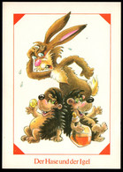 F0755 - TOP K. Arnold Märchenkarte Glückwunschkarte - Hase Und Igel - Planet Verlag DDR - Vertellingen, Fabels & Legenden