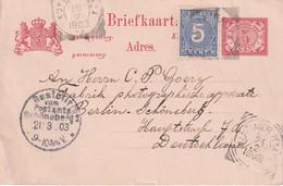 INDES NEERLANDAISES  1903  ENTIER POSTAL/GANZSACHE/POSTAL STATIONARY  CARTE - Netherlands Indies