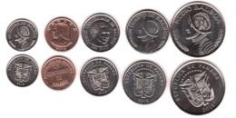 Panama - Set 5 Coins 1 5 1/10 Cent 1/2 1/4 Balboa 2017 - 2018 UNC Lemberg-Zp - Panama