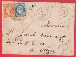 N°38 60 CAD ALGER ALGERIE DEVANT DE LETTRE RECOMMANDEE LOCAL ALGER POUR ALGER RETOUR ENVOYEUR 5005 - 1849-1876: Classic Period