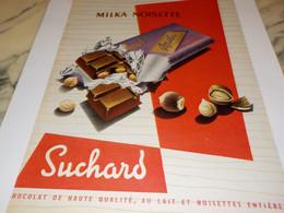 ANCIENNE PUBLICITE CHOCO MILKA NOISETTE SUCHARD 1957 - Publicidad