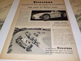 ANCIENNE PUBLICITE JIMMY BRYAN ET  PNEU FIRESTONE 1958 - Automobilismo - F1