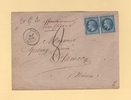 Varzy - 56 - Nievre - Affranchissement Insuffisant Lettre Pesee 20g20 Taxe Manuscrite 8 Decimes - 2 Nov 1868 - 1849-1876: Classic Period