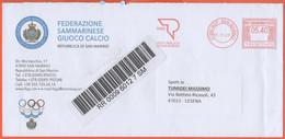Repubblica Di San Marino - 2020 - 5,40 EMA, Red Cancel - Federazione Sammarinese Giuoco Calcio - Raccomandata -Viaggiata - Storia Postale