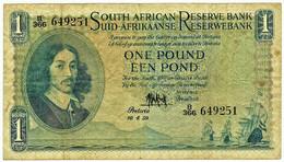 South Africa - 1 Pound - 10.4.1959 - Pick: 92.d - Sign. Dr. M. H. De Kock - Jan Van Riebeeck - South Africa