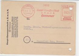Freistempel HAUPT-GENOSSENSCHAFT .. (20) HANNOVER 24.6.44 Nach Wagenfeld / Aktenlochung - Covers & Documents