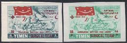JEMEN - YEMEN  - BRITISH RED CROSS SURGICAL TEAM  AIR MAIL  OVPT.  IMPERF. - **MNH - 1964 - RARE - Cruz Roja