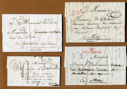 CHAUMONT  (52) : LOT DE 4 MARQUES POSTALES - 1801-1848: Precursors XIX