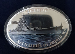 "Tokelau 1$ 2013 ""Battleships Of World War II"" - Richelieu. Proof. 2oz. Oval 70x45 Mm. Very Scarce. Mintage = 3000. - Other - Oceania"