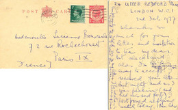 GRANDE-BRETAGNE ENTIER POSTAL CARD LONDON OMec 6 FEB 1937 => PARIS IX - Non Classés