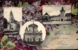 CPA Solothurn Stadt Schweiz, Baseltor, St. Ursenturm, St. Ursusmünster, Bieltor, Buristurm - SO Soleure