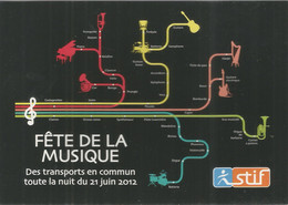 F81 / CARTE CPM Publicitaire PUB Advertising Card Cart'com PUBLICITE  STIF Fête De La MUSIQUE NAVIGO SNCF TRAIN Metro - Pubblicitari