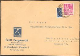Bizone Bauten 40 Pfg. M.Notopfer Auf Doppel-Brief V.1949 Aus Osnabrück Gothaer Versicherung - Zona Anglo-Americana