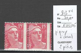 France - Yvert 813** - Marianne De Gandon - Piquage à Cheval - 2 Piéces - Varieteiten: 1945-49 Postfris