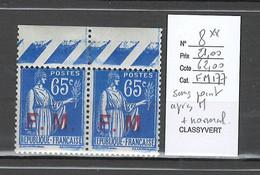 France - Yvert 8** - Paix Franchise Militaire - Sans Point Aprés FM + Normal - Varieties: 1921-30 Mint/hinged