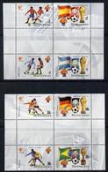 Antigua - Redonda 1982 Football World Cup Set Of 8 In 2 Se-tenant Gutter Blocks U/m - Antigua Et Barbuda (1981-...)