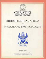 Auction Catalogue - British Central Africa & Nyasaland Christie's Robson Lowe 12/9/1989 - Dr Graeme McFarlane - Other