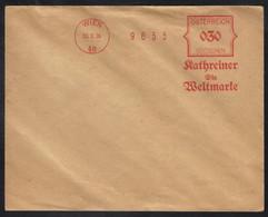 KATHREINER WELTMARKE - MALZKAFFEE / 1926 WIEN ROTER MASCHINENSTEMPEL (ref 5090) - Marcofilie - EMA (Print Machine)