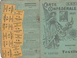 1937 LYON - C.G.T. Carte Confédérale De TEXTILE - Avec Timbres De L'Union De Syndicats & De Solidarité Du TEXTILE - Documenti Storici