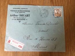 Belgique : N°113 Sur Pli Recommandé A En-tête «Arthur Druart» à La Bouverie (1912) - 1912 Pellens