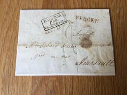 Belgique : Précurseur Envoyé De Mons (Bergen) En 1923 Avec Cachet Encadré Pays-Bas Par Valenciennes - 1815-1830 (Dutch Period)