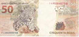BILLETE DE BRASIL DE 50 REAIS DEL AÑO 2010 DE UNA PANTERA (ONCA PINTADA)  (BANKNOTE) - Brazil