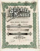 Aandeel Soieries De Ninove - Siège Social Bruxelles - Capital Social 70.000.000 De Francs - Action Privilégiée De 1000 F - Andere