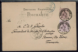 Allemagne - Carte Entier Postal 5 Pf + 5 Pf De Dresden 24-3-1877 Pour Romans (Fr) B/TB - - Stamped Stationery