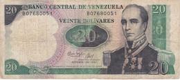 BILLETE DE VENEZUELA DE 20 BOLIVARES DEL AÑO 1987 (BANKNOTE) - Venezuela