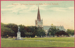 Singapore St Andrews Cathedral And Raffles Monument, Esplanade _ (PCard161) CPA Vintage - Singapore