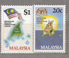 MALAYSIA 1984 Labuan Map Flag Coat Of Arms MNH(**) Mi 278-279 #27559 - Malaysia (1964-...)