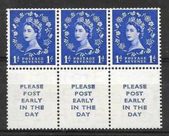 Grande-Bretagne (GB) 1952 - Elisabeth II Postage Revenue 1d - Superbe Bloc De 3 MNH - Unused Stamps