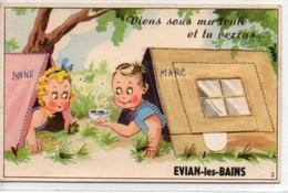 Evian-les-Bains- Viens Sous Ma Tente Et Tu Verras...-carte Avec Dépliant - Evian-les-Bains